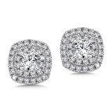 Diamond Double Cushion Halo Studs in14K White Gold with Platinum Post (1ct. tw.)