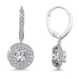 Diamond Drop Earrings with Double Round Halo in 14K White Gold with Platinum Post (1ct. tw.)