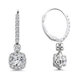 Diamond Drop Earrings with Cushion Halo in 14K White Gold with Platinum Post (1ct. tw.)