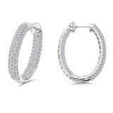 Locking 4-Row Reflection Diamond Hoops in 14K White Gold with Platinum Post