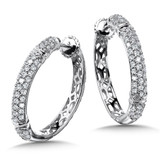 Locking 3-Row Diamond Hoops in 14K White Gold with Platinum Post