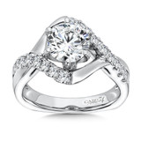 Caro74 Diamond Engagement Ring With .44ctw Diamonds in 14K White Gold with CZ Center