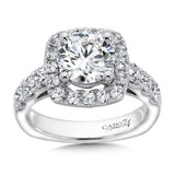 cushion d Halo Diamond Engagement Ring with Side Stones in 14K White Gold with Platinum Head (2ct. tw.)
