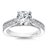 Classic Elegance Collection Engagement Ring With Channel-Set Diamond Side Stones in 14K White Gold with Platinum Head (1-1/2ct. tw.)
