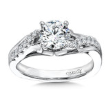 Classic Elegance Collection Diamond Criss Cross Engagement Ring with Side Stones  in 14K White Gold with Platinum Head (1ct. tw.)
