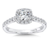 Classic Elegance Collection Cushion Halo Engagement Ring in 14K White Gold (1/2ct. tw.)