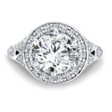 Round halo mounting with side stones .97 ct. tw., 2 1/2 ct. round center.