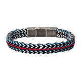 Allegiance Stainless Steel Bracelets with Red Wax Cord binding 2 Blue Antique Brushed Foxtail Links
