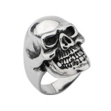 Black IP Skull All Teeth Out Ring