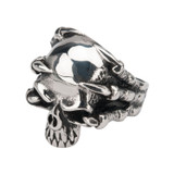 Black Oxidized Skull Ring with Claws