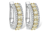 14kt White Gold Yellow and White Diamond Earrings