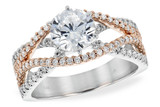 14KT Gold LADIES SEMI-MOUNT ENGAGEMENT DIAMOND RING .53 TW - HOLDS A  1.00 CENTER STONE14KT Gold