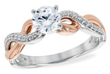 14KT Gold LADIES SEMI-MOUNT ENGAGEMENT DIAMOND RING .09 TW (ROSE & WG) - HOLDS A  0.50 CENTER STONE14KT Gold