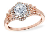 14KT Gold LADIES SEMI-MOUNT ENGAGEMENT DIAMOND RING .09 TW - HOLDS A  0.75 CENTER STONE14KT Gold