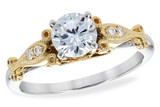 14KT Gold LADIES SEMI-MOUNT ENGAGEMENT DIAMOND RING .05 TW - HOLDS A  0.75 CENTER STONE14KT Gold