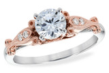 14KT Gold LADIES SEMI-MOUNT ENGAGEMENT DIAMOND RING .05 TW (WG/RING) - HOLDS A  0.75 CENTER STONE14KT Gold