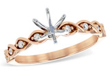 14KT Gold LADIES SEMI-MOUNT ENGAGEMENT DIAMOND RING .11 TW - HOLDS A  0.75 CENTER STONE14KT Gold