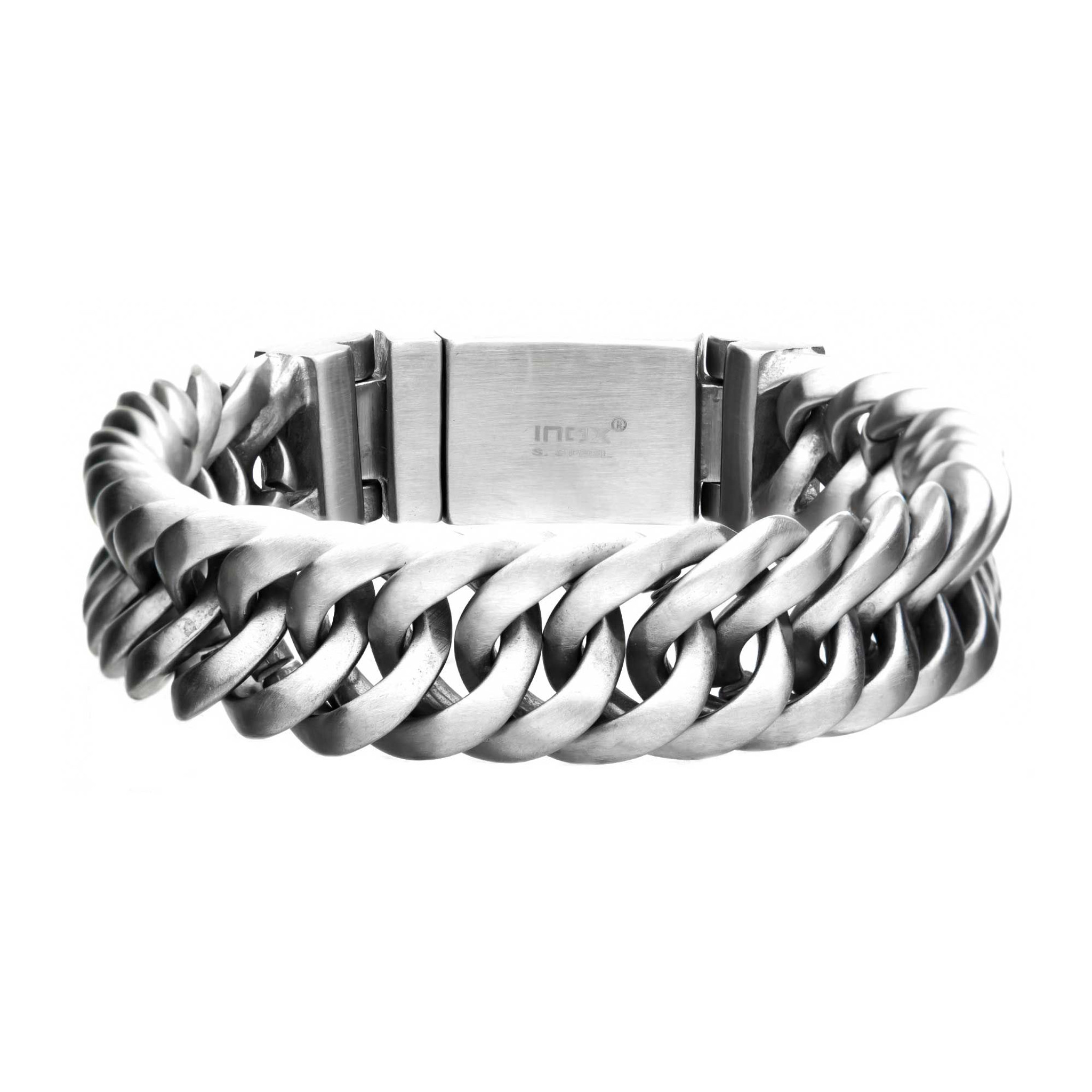Matte Double Layer Curb Colossi Link and Chain Mens/Bracelets;Inox - Z's  Fine Jewelry
