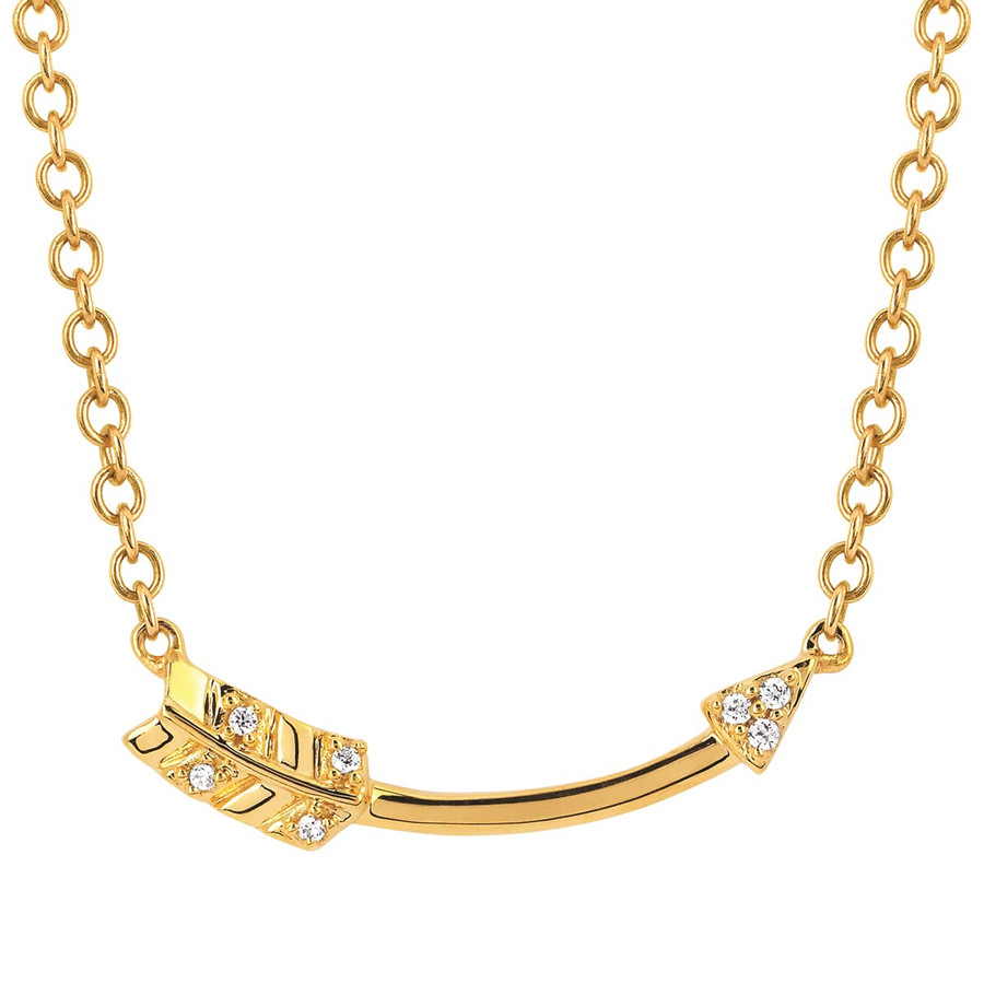 10k Yellow Gold Arrow Necklace with Diamonds