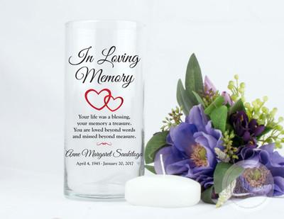 Hearts Personalized Memorial Vase