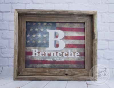 American Flag Family Name Canvas in Barnwood Frame