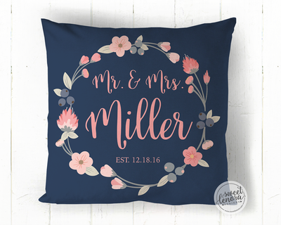 Mr. and Mrs. Personalized Throw Pillow