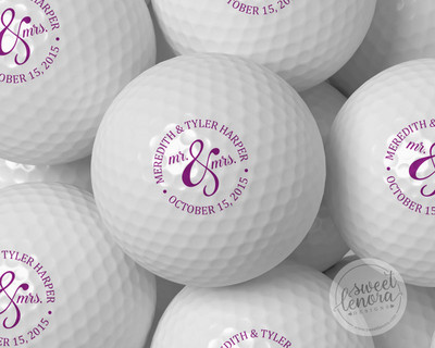 Mr. & Mrs. Circle Personalized Golf Balls