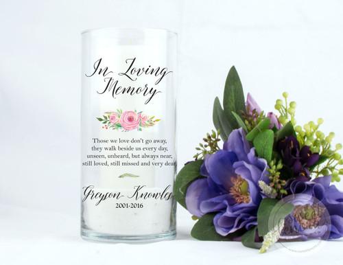 Pink Roses Personalized Memorial Vase