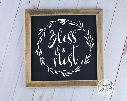 Bless Our Nest Rustic Wood Sign