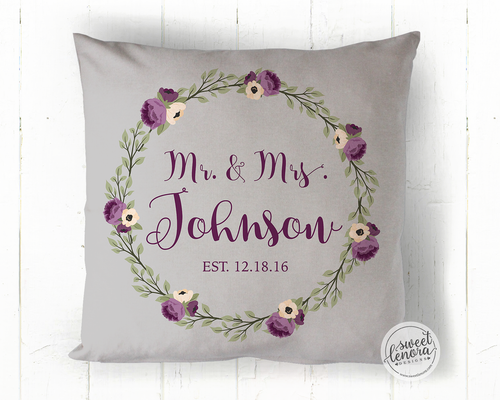 Mr. and Mrs. Purple Flowers Personalized Throw Pillow
