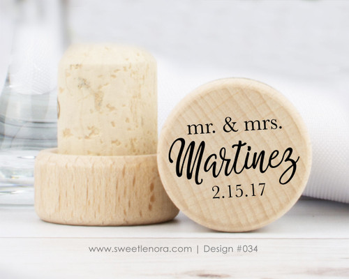 Mr. and Mrs. Surname Wine Stopper Favors 034