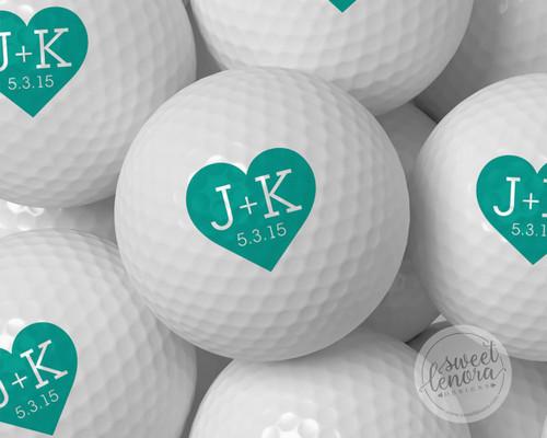 Heart Initials Personalized Golf Balls