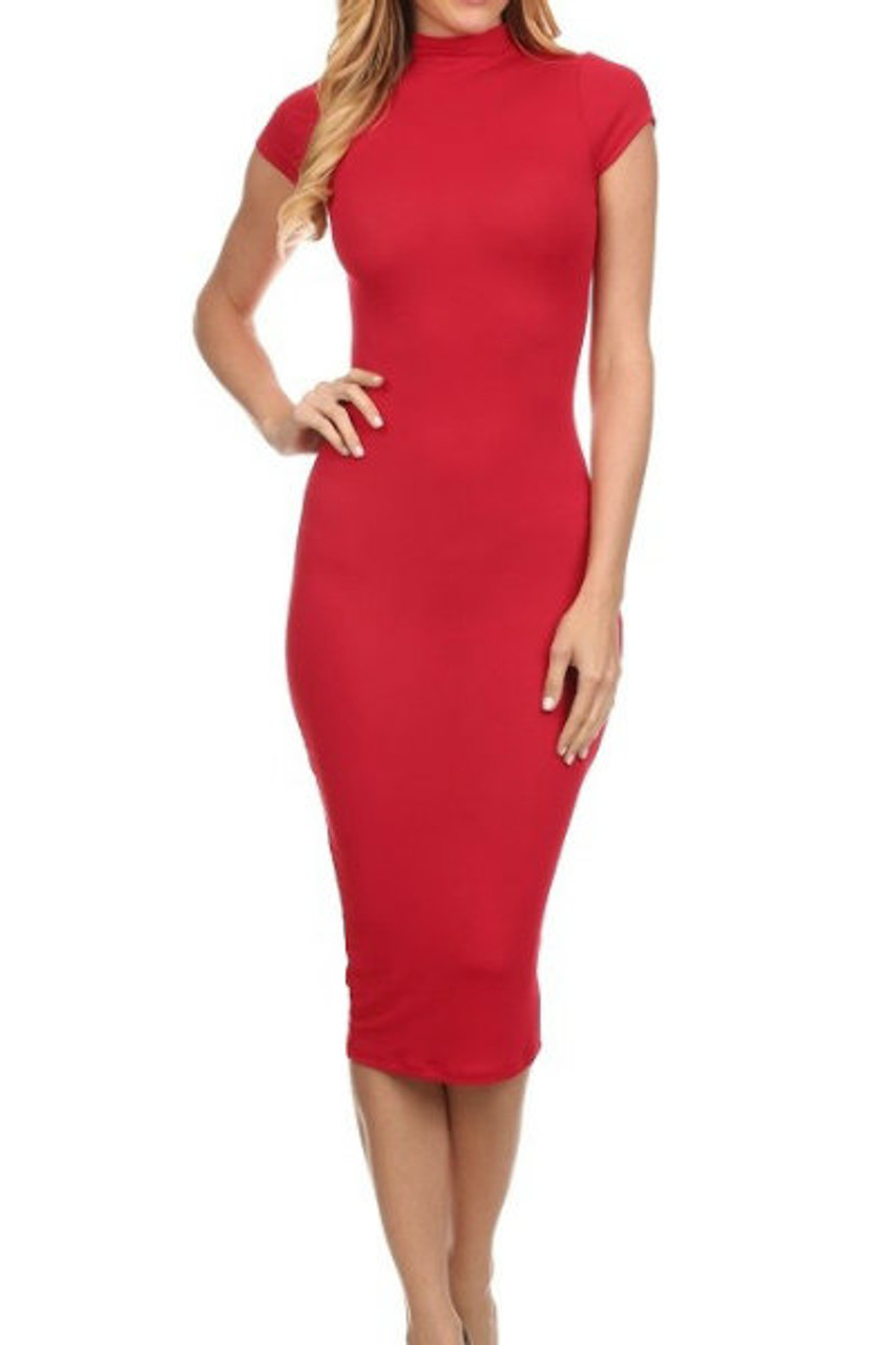 Short Sleeve Midi Fitted Dress | Shop Women's Dresses
