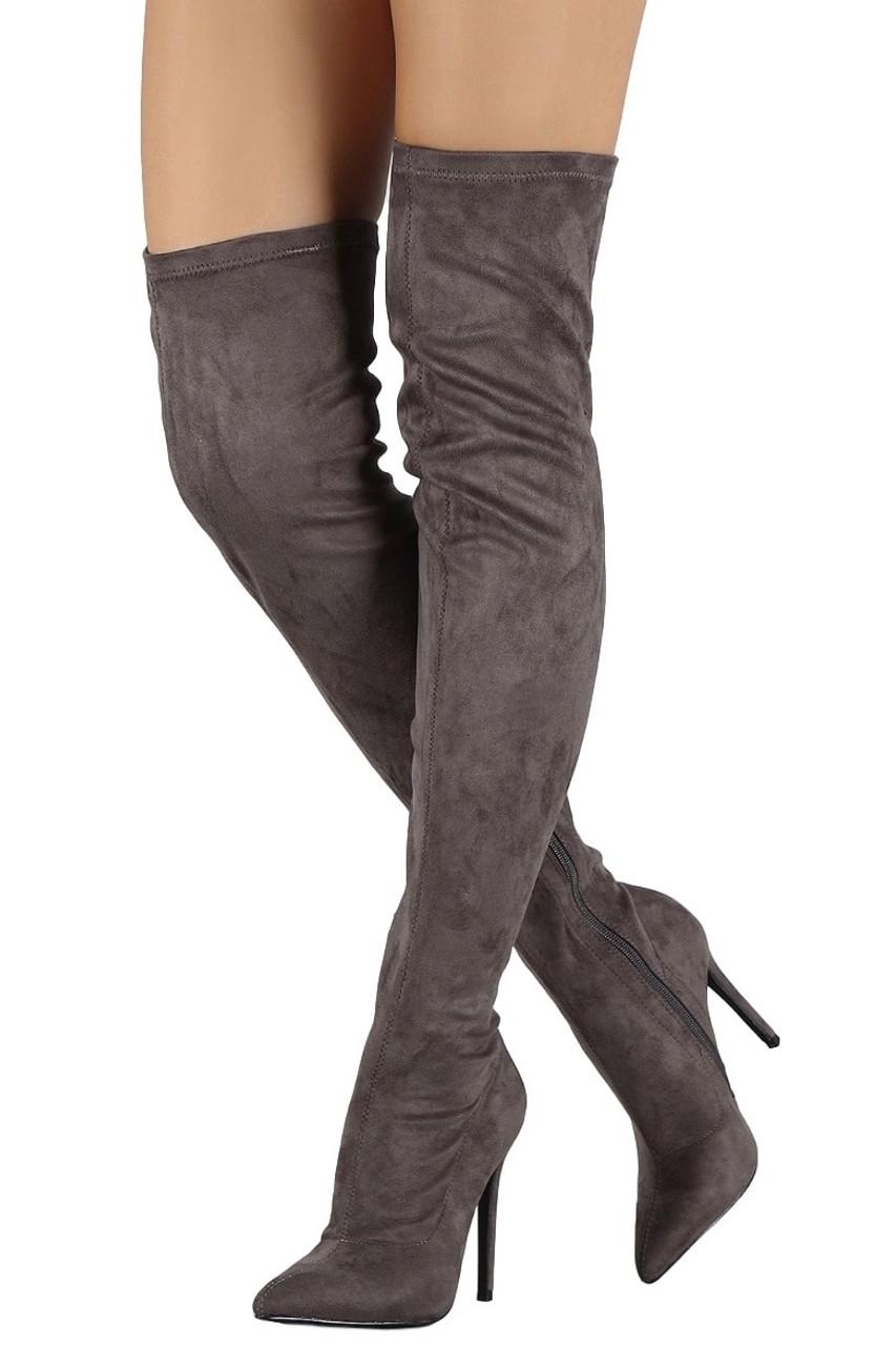 sale retailer e3b69 ae026 Grey Over The Knee Stiletto Boots