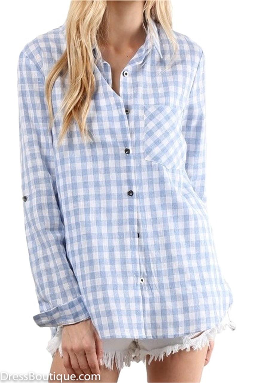 Light Blue Plaid Shirt Shop Women S Tops