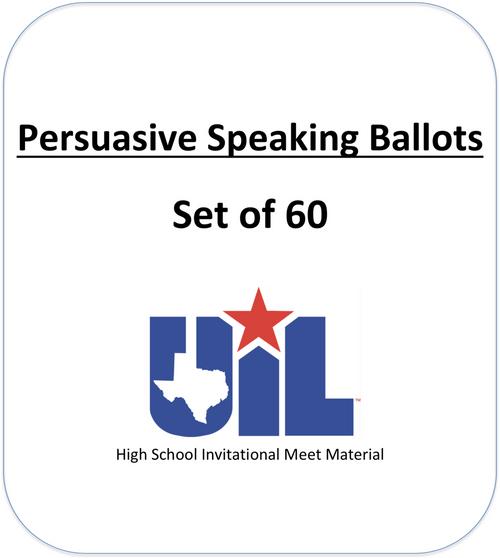 Persuasive Speaking ballots (Set of 60)