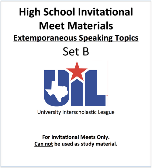 Extemporaneous Speaking Topics 18-19 (Set B)