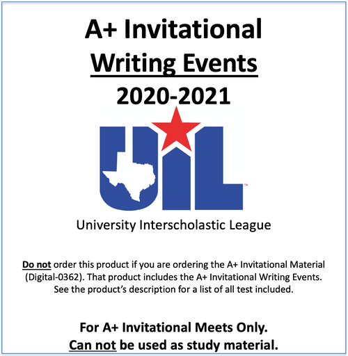 A+ Invitational Writing Events 2020-2021