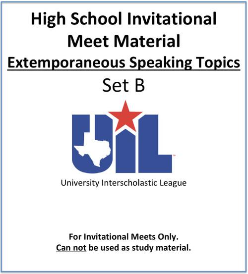 Extemporaneous Speaking Topics 2020-21 (Set B)