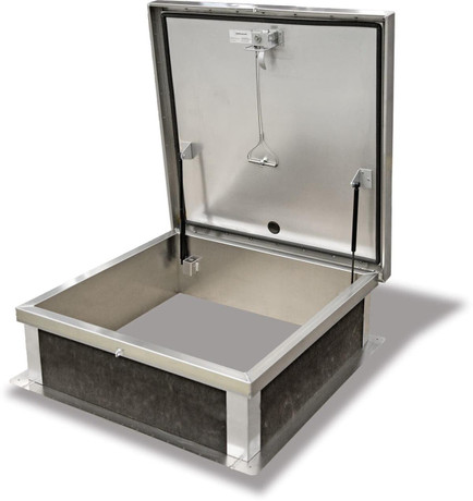 Acudor 30 x 30 Galv Steel Roof Access Hatch, Grey Baked Enamel Polyester