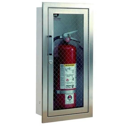 JL Industries Cosmopolitan - Stainless Steel Fire Extinguisher Cabinet - Flat Trim - Full Glass with Pull Handle