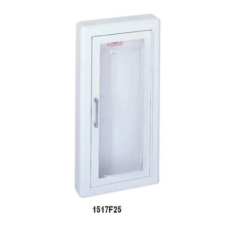 JL Industries Clear Vu - Stainless Steel Acrylic Bubble Fire Extinguisher Cabinet - 3 Rolled - Full Glass with Pull Handle