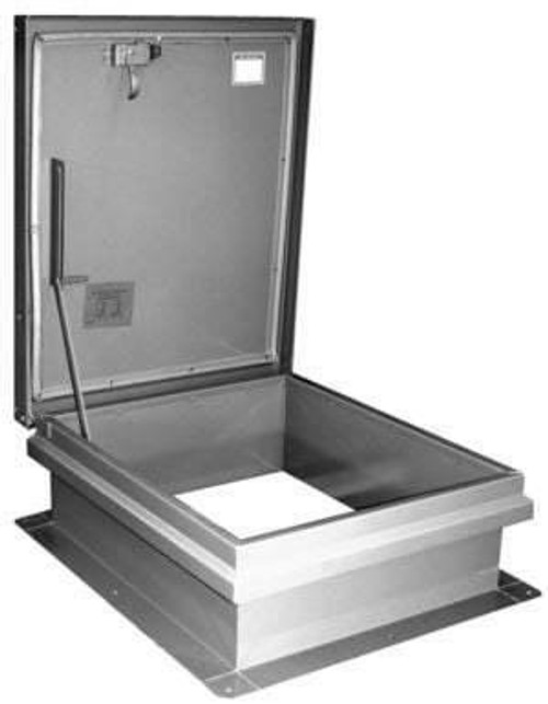 Milcor 30 x 26 Single Leaf Ship Stair Hatch - Galvanized Steel Cover and Curb