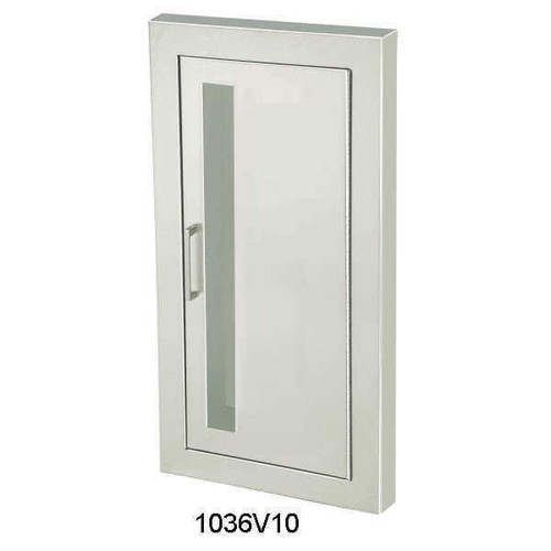 JL Industries Cosmopolitan - Stainless Steel Fire Extinguisher Cabinet - Flat Trim - Vertical Duo with SAF-T-LOK with Pull Handle