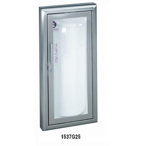 JL Industries Clear Vu - Aluminum Acrylic Bubble Fire Extinguisher Cabinet - Flat Trim - Full Glass with SAF-T-LOK with Pull Handle