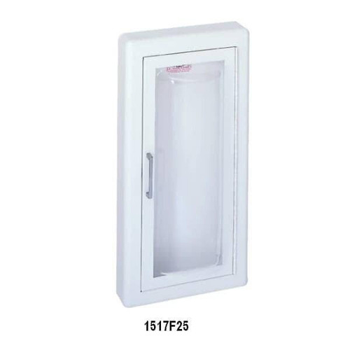 JL Industries Clear Vu - Stainless Steel Acrylic Bubble Fire Extinguisher Cabinet - Flat Trim - Full Glass with Pull Handle