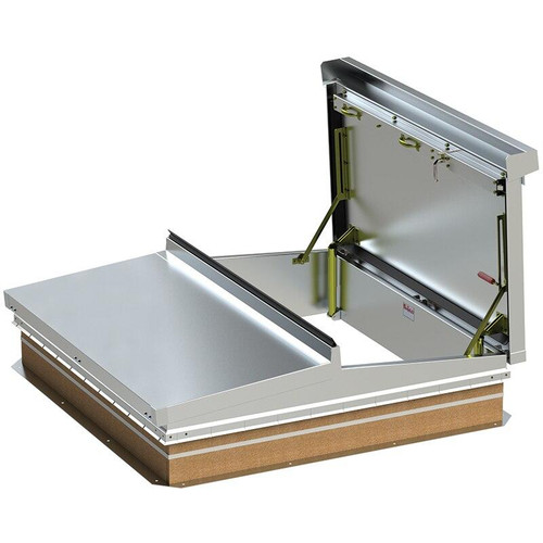 Bilco 48 x 48 Steel Curb and Aluminum Cover Equipment Access Roof Hatch Double Leaf - Bilco