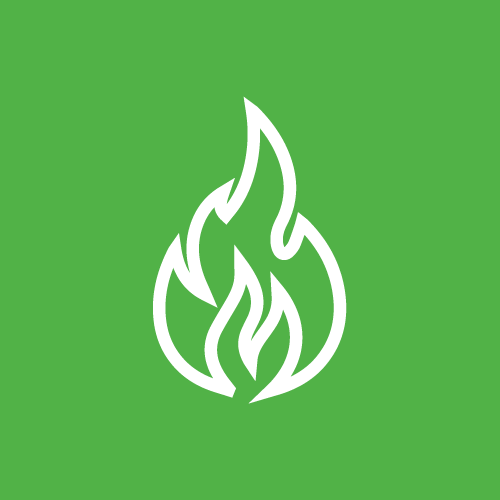 A green sign with a fire in the middle that we use to label our fire-rated access doors and panels