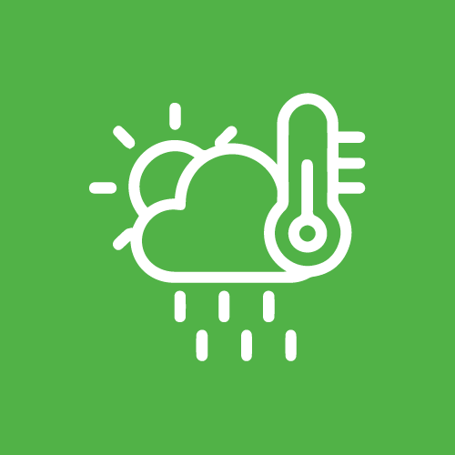 A green sign with a thermometer, clouds, and sun as a label for watertight access doors and panels