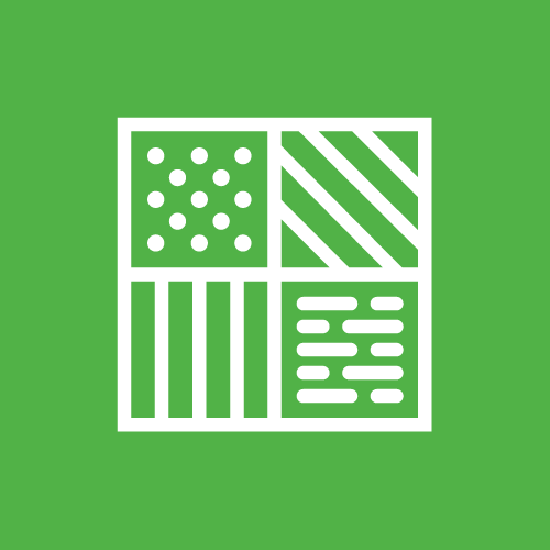 A green sign with four sections of boxes containing dots, horizontal, slanted, and broken lines for any-surface access doors